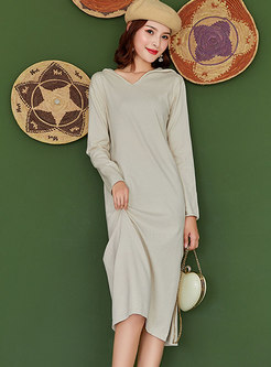 Solid Color Hooded Straight Sweater Dress