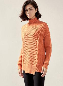 Turtleneck Pullover Loose Asymmetric Sweater