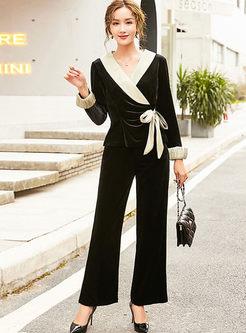 Color-blocked V-neck Bowknot Palazzo Pant Suits