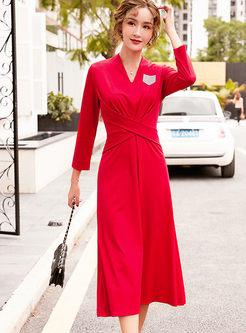 V-neck Long Sleeve Cross A Line Maxi Dress