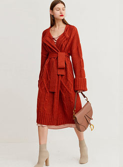 Solid Color Long Sleeve Long Sweater Coat