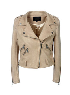 Long Sleeve Side Zipper Suede Biker Jacket