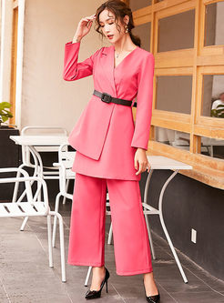 Notched Asymmetric Palazzo Pant Suits