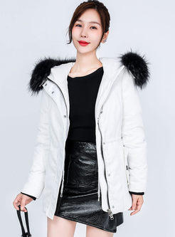 Hooded Slim Puffer Coat With Fur Collar
