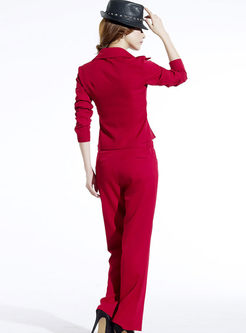 Solid Color V-neck Bowknot Slim Pant Suits