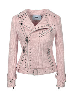 Solid Color Rivet Short Slim Jacket