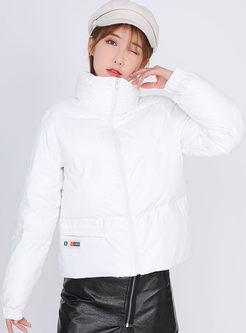 Mock Neck Slim Short Puffer Coat