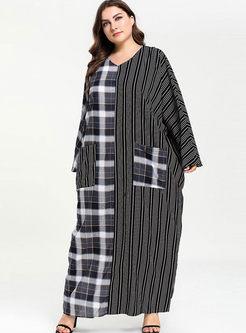 Plus Size V-neck Plaid Patchwork Maxi Dress