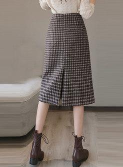 High Waisted Plaid A Line Hairy Skirt