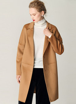 Solid Color Single-breasted Loose Wool Coat