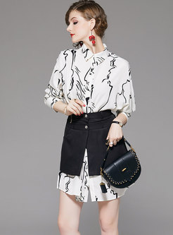 Lapel Print Mini T-shirt Dress With Skirt