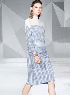Mock Neck Color-blocked Houndstooth Knit Suit Dress