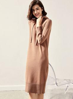 Hooded Drawcord Slim Sweater Dress
