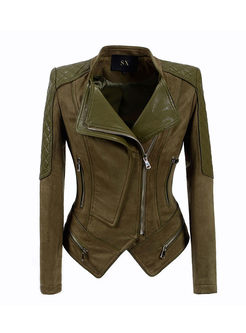 Lapel Size Zipper Short Slim Biker Jacket