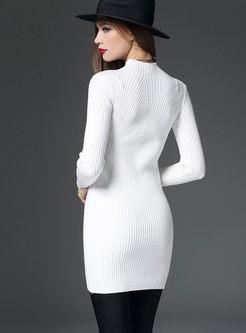 Solid Color Mock Neck Pullover Slim Sweater
