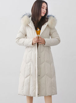 Fur Collar Hooded A Line Down Coat