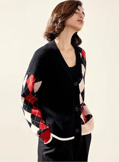 V-neck Long Sleeve Plaid Cardigan
