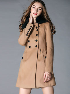 Solid Color Fur Collar Slim A Line Peacoat