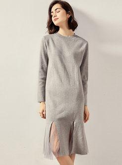 Crew Neck Long Sleeve Patchwork Sweater Dress