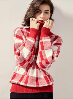 Turtleneck Pullover Loose Plaid Sweater