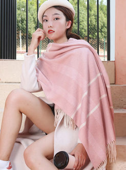 Color-blocked Fringed Cashmere Scarf