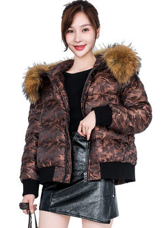 Hooded Short Puffer Coat With Fur Collar