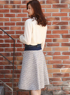 High Waisted Houndstooth A Line Skirt