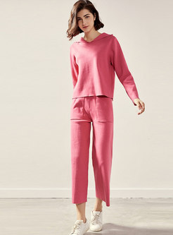 Solid Color Hooded Knit Loose Pant Suits