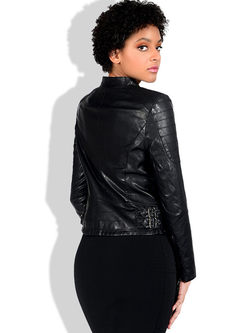 Mock Neck Slim Short Biker Jacket