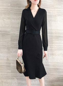 V-neck High Waisted Bodycon Peplum Dress