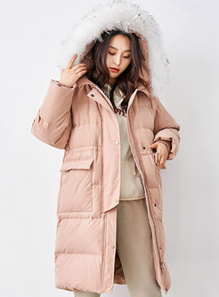 Hooded Drawcord Straight Puffer Coat