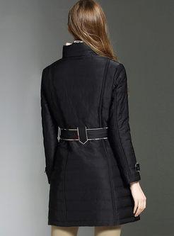 Mock Neck Long Sleeve Slim Coat