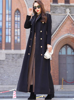 Solid Color A Line Long Peacoat