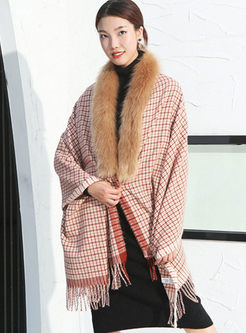 Fur Collar Patchwork Plaid Fringed Poncho