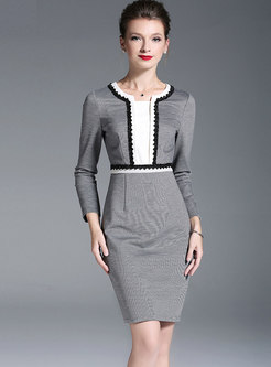 Crew Neck Patchwork Office Pencil Dress