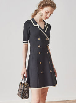 Vintage High Waist Double-breasted Knitted Dress