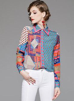 Lapel Polka Dot Print Silk Blouse