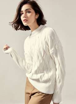Crew Neck Thick Cable Knit Sweater