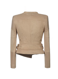 Patchwork Zipper Slim Short PU Jacket