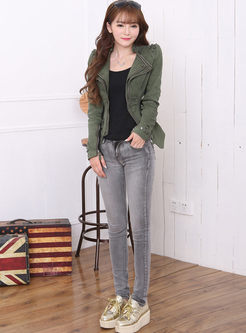 Lapel Rivet Slim Asymmetric Denim Jacket