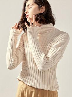 White Turtleneck Pullover Slim Sweater