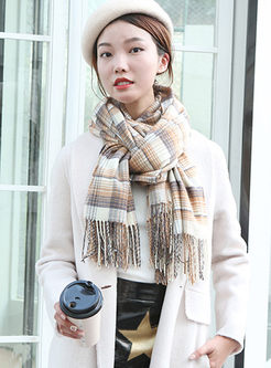 Color-blocked Plaid Fringed Faux Cashmere Scarf
