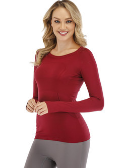 Crew Neck Slim Solid Color Workout Top