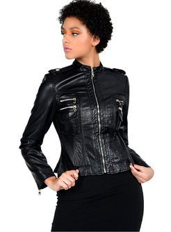 Black Mock Neck Slim PU Biker Jacket
