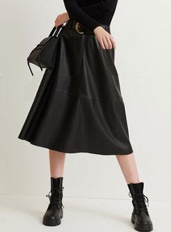 Black High Waisted A Line PU Skirt