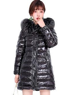 Hooded Long Sleeve High Shine Puffer Coat