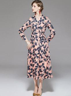 V-neck Print High Waisted Maxi Dress