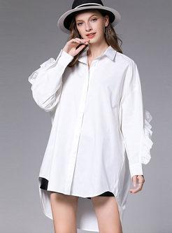 Plus Size Lapel Long Sleeve Falbala Blouse