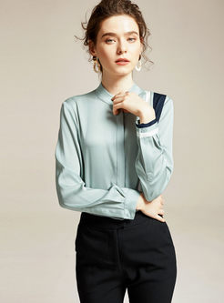 Color-blocked Mock Neck Silk Blouse
