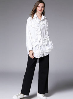 Solid Color Falbala Patchwork Blouse